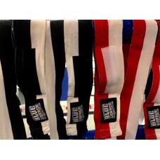 Uutuus! Hieman elastiset kaksiväriset käsisiteet. Lyhyet, n 2,75cm. Puna/valkoinen, tai musta/valkoinen